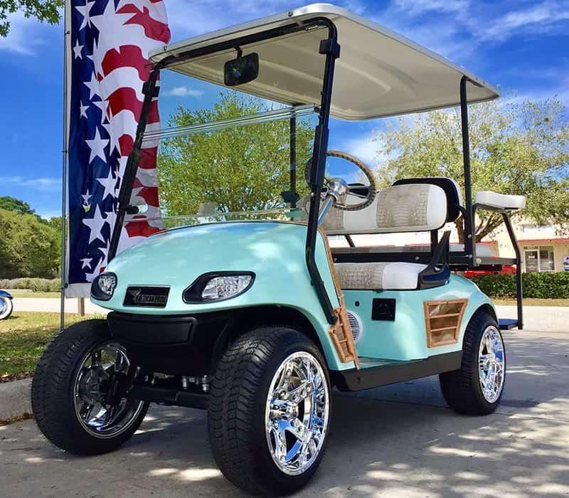 Aqua Blue Golf Cart