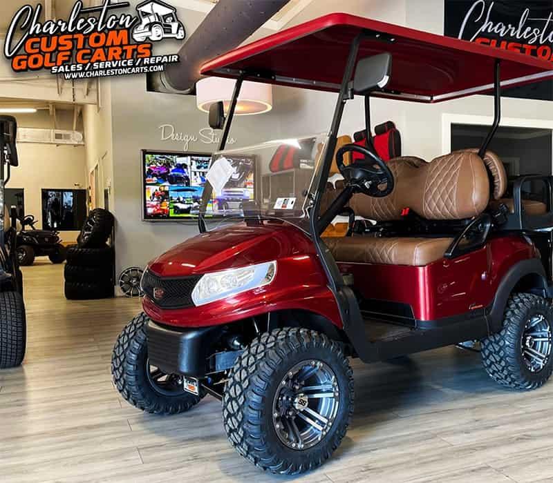 Maroon Golf Cart