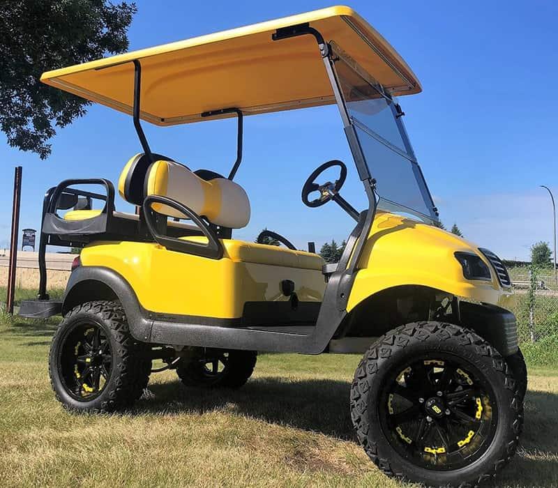 Yellow Black White Golf Cart